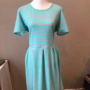 LuLaRoe 3XL Amelia Dress, striped cotton candy!